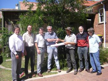 Done deal – BEND awards its infrastructure contract to R.D. Miller Pty Ltd, 30 October 2007.(l-r) Brad Pym (RDM), Rob Tombs, Peter Ascot, Ray Miller, John Champagne, Chris Allen, Jenny Spinks.